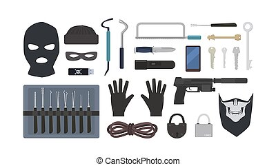 cerradura, máscaras, robo, escoge, herramientas, fondo., sierra, -, aislado, equipo, candados, robo, housebreaking, plano, colección, robo fractura, linterna, cuchillo, blanco, arma de fuego, illustration., vector, soga