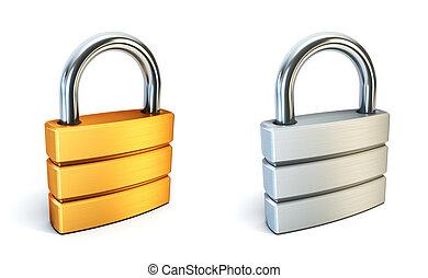 cerradura, metal, cerrado
