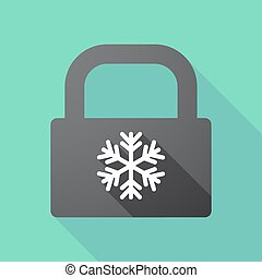 cerradura, nieve, largo, almohadilla, escama, sombra