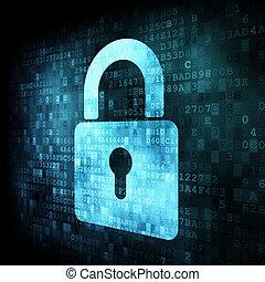 cerradura, pantalla, seguridad, concept:, digital