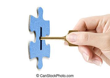 cerradura, rompecabezas, mano, llave, apertura