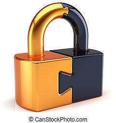 cerradura, rompecabezas, seguridad, candado