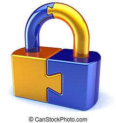 cerradura, seguridad, concepto, rompecabezas, icono