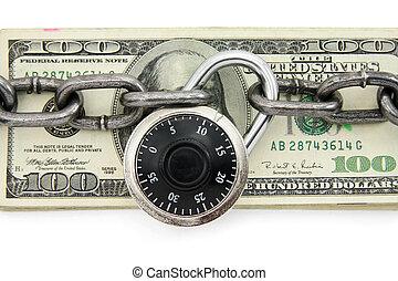 cerradura, y, dólar de los e.e.u.u