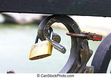 cerraduras, de, amor, en, paris., francia