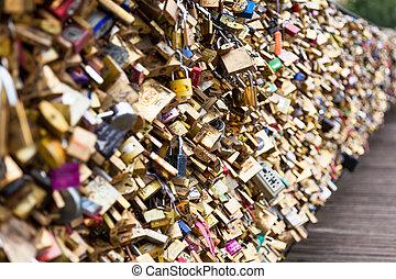 cerraduras, de, pont des arts, en, parís, francia, -, amor, puente