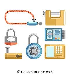 cerraduras de puerta, diferente, tipos, candado, picaportes, o, electonic, llaves, vector, plano, iconos