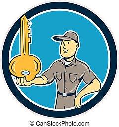 cerrajero, el balancear, llave, palma, círculo, caricatura