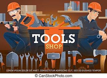 cerrajero, herramientas, carpintería, tienda trabajo