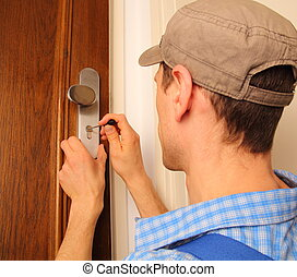 cerrajero, puerta, apertura
