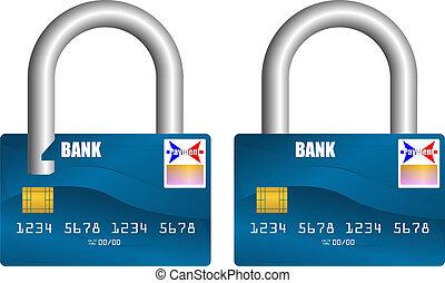 cerrar con llave, tarjeta bancaria, abierto