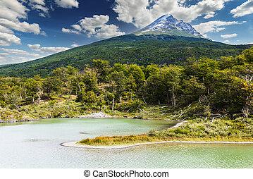 Cerro Guanaco mountain in Tierra del Fuego Peninsula in ...