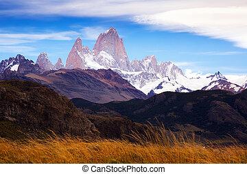 cerro, roy, 氷河, torre, 山, fitz
