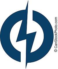 cerrojo relámpago, logotipo, círculo, design.