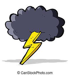 cerrojo relámpago, nube, caricatura