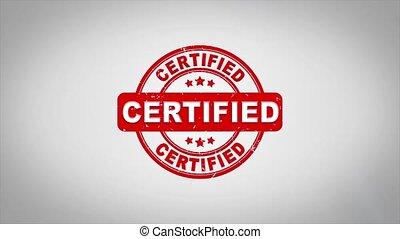 certifié, compostage, bois, signé, texte, timbre, animation.