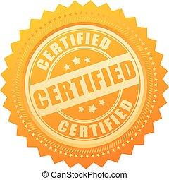 certifié, or, certificat, icône