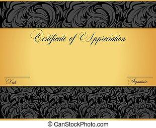 certificaat, appreciatie, ouderwetse , abstract, elegant, ontwerp, retro, sierlijk, floral
