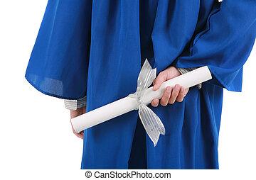 certificaat, back, afgestudeerd, hand achterop, vasthouden