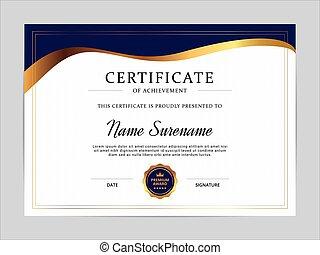 certificaat, ontwerp, vector, mal