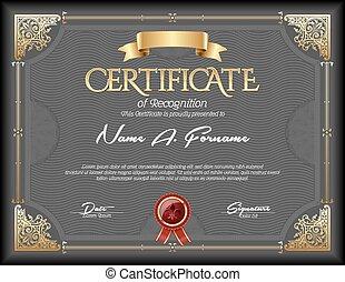 certificaat, van, erkenning, ouderwetse