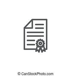 certificaat, vrijstaand, lijn, witte , pictogram