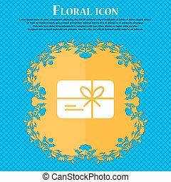 certificado, ícone, sinal., floral, apartamento, desenho, ligado, um, azul, abstratos, fundo, com, lugar, para, seu, text., vetorial