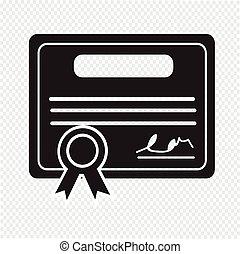 certificado, ícone