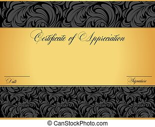 certificado, aprecio, vendimia, resumen, elegante, diseño, ...