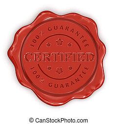 certificado, cera, estampilla