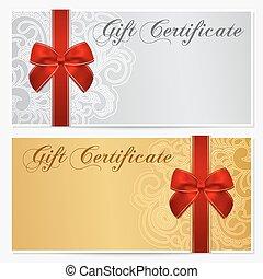 certificado, comprovante, coupon., arco presente