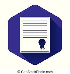 certificado., concepts., button., isolado, ilustração negócio, realização, roxo, vetorial, longo, hexágono, certificado, modelo, grau, branca, ícone, sucesso, shadow., diploma, distinção, concessão