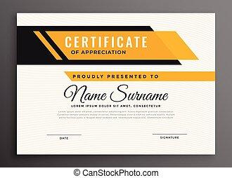 certificado, cor, diploma, amarela, distinção, modelo