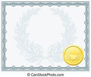 certificado, diploma, fundo, modelo
