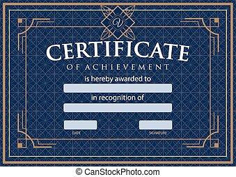 certificado, diploma, realização