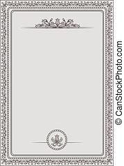 certificado, em branco