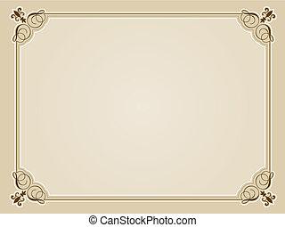 certificado, fundo, em branco