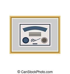 certificado, isolated., sinal., diploma, distinção, vetorial, ilustração, template., ícone
