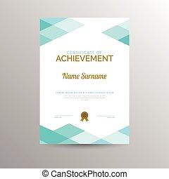 certificado, logro, plantilla