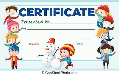 certificado, modelo, com, crianças, em, inverno