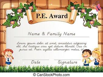 certificado, modelo, distinção, pe