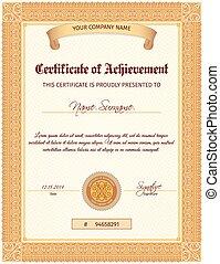 certificado, modelo, vertical