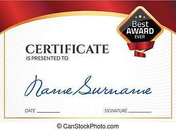 certificado, negócio, cupão, award., diploma, stamp., vetorial, luxo, modelo, selo, presente