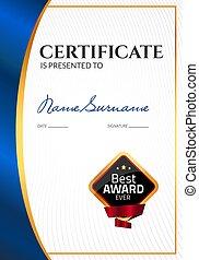 certificado, negócio, cupão, award., diploma, stamp., vetorial, luxo, modelo, selo, sucesso, presente, ou, realização