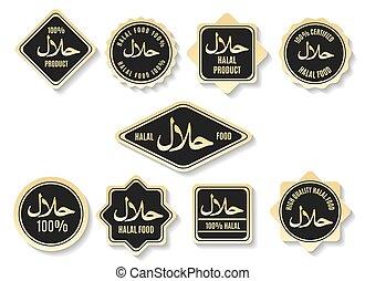 certificado, ouro, islamic, halal, sinais, refeição