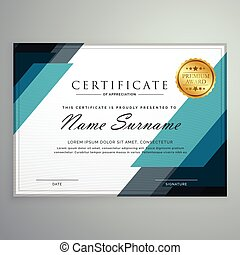 certificado, premio, formas, aprecio, diseño, plantilla, ...