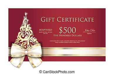 certificado presente, árvore, ornmament, luxo, ouro, creme, ...