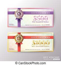 certificado presente, cupão, comprovante, modelo, cartão