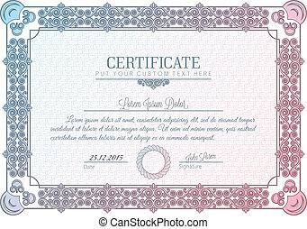 certificado, quadro, carta patente, diploma