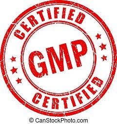 certificado, rojo, estampilla, gmp